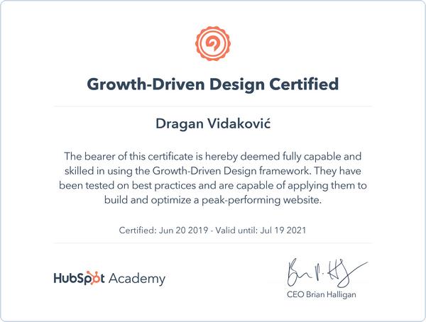 Evidid marketing rešenja HubSpot sertifikat